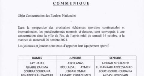 Concentrations des équipes nationales Seniors- Juniors et Dames du 16 au 20/10/2021