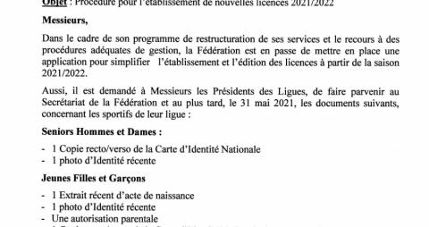 Note aux ligues: Les nouvelles licences saison 2021-2022